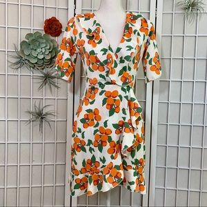 NWT Orange Print Faux Wrap Mini Dress